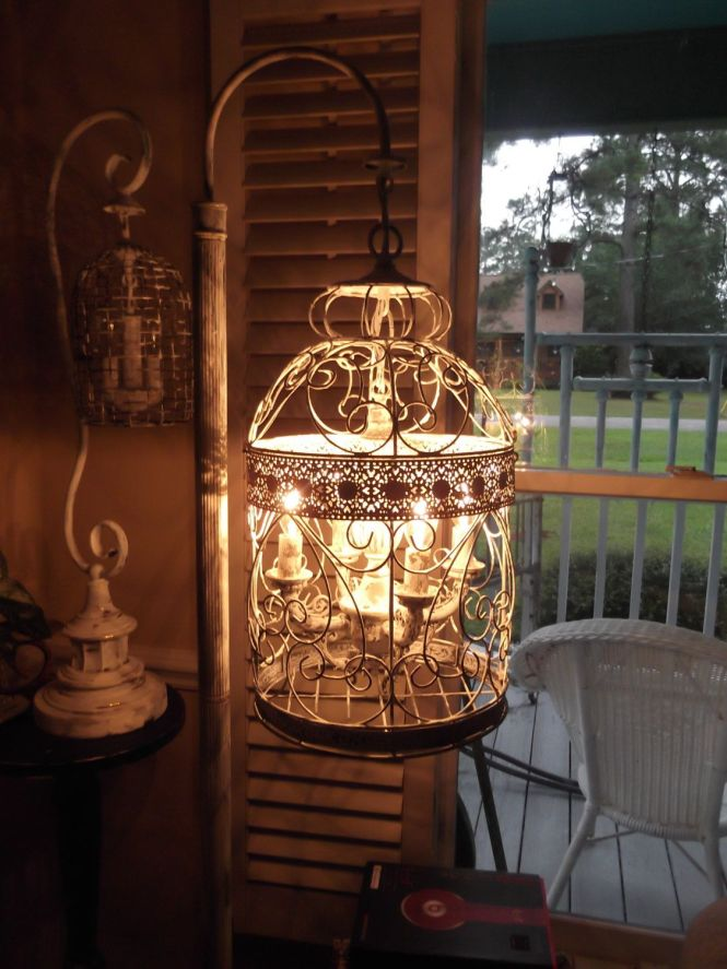 Chandelier Floor Lamp Vintage Bird Cage Light Shabby Chic