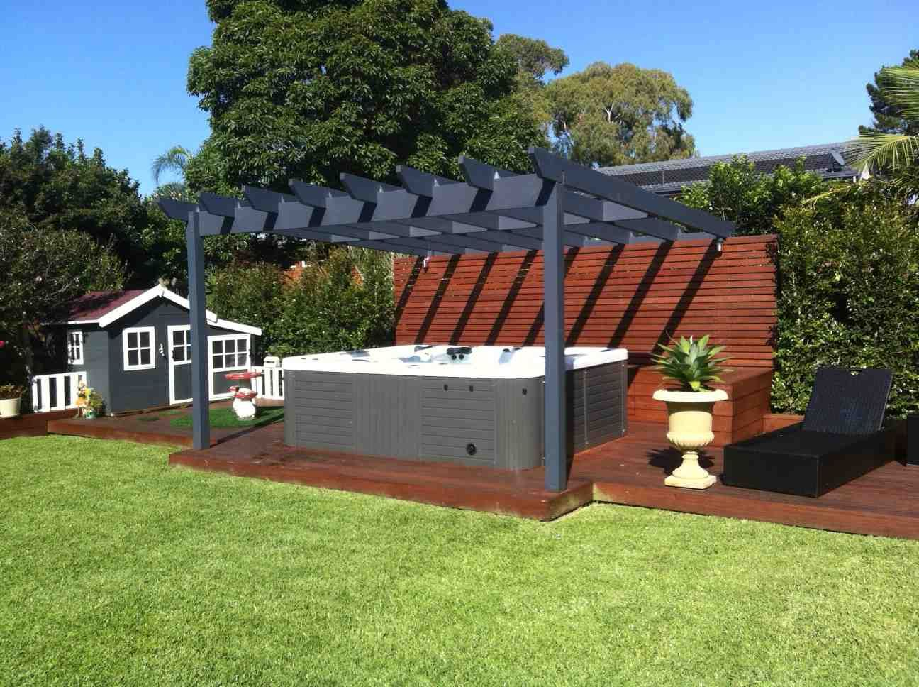 Portable spa Beautifully finished and landscaped under the ... on Outdoor Living Spa id=62048
