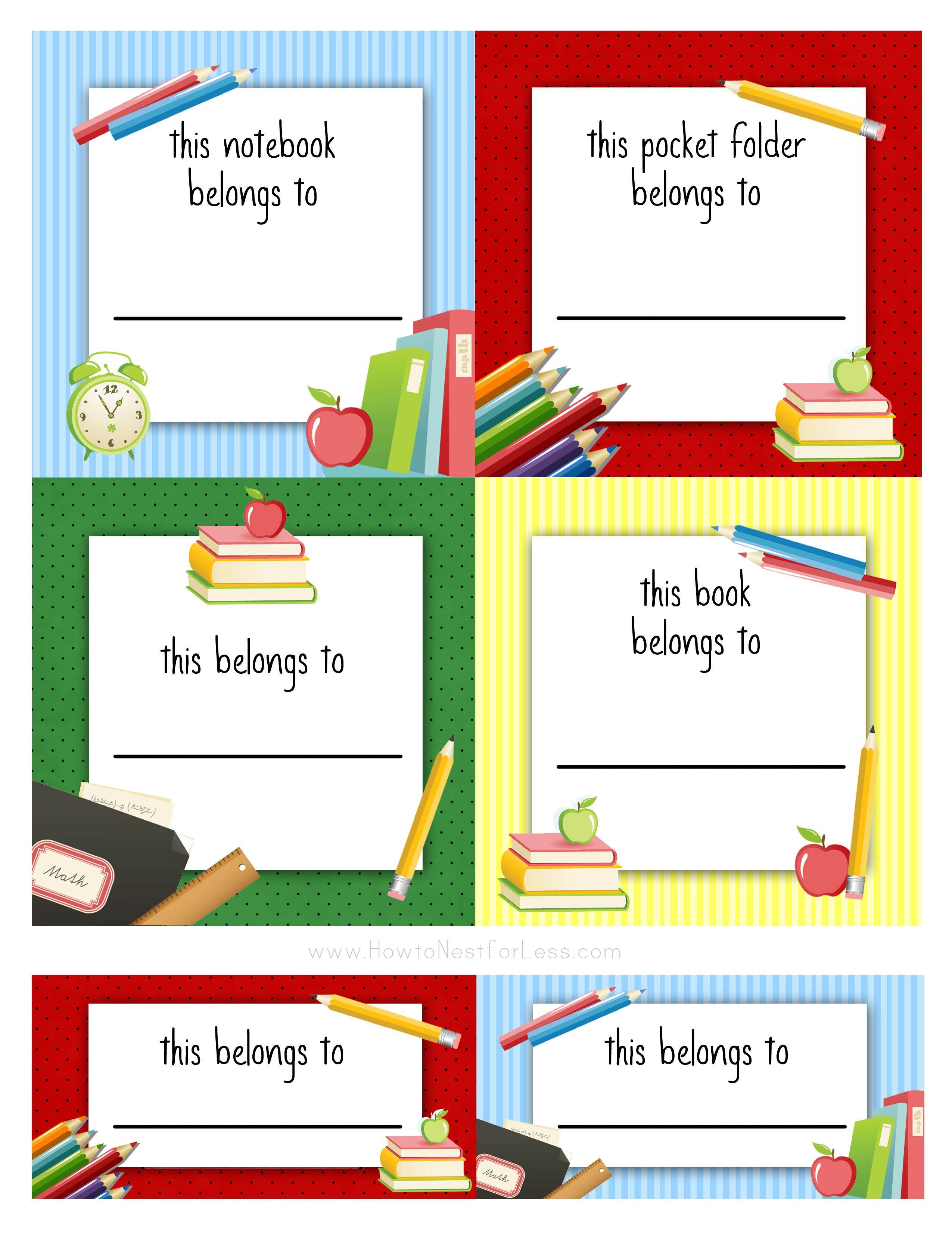 Kids Amp School Labels Printables And Templates