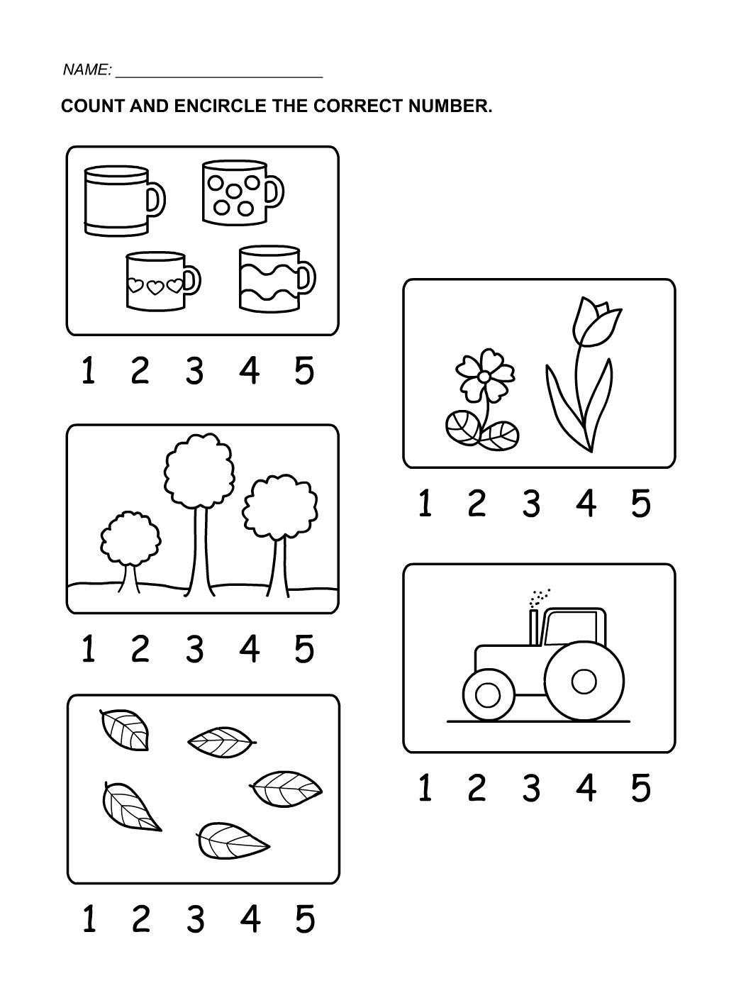 Numbers Counting 1 5 For Kids