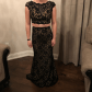 Jovani black lace two piece prom dress black laces prom and