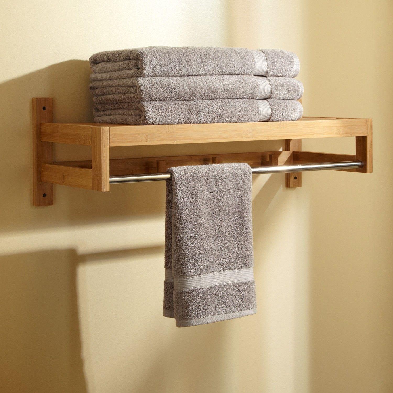 pathein bamboo towel rack with hooks | bathroom towel hooks