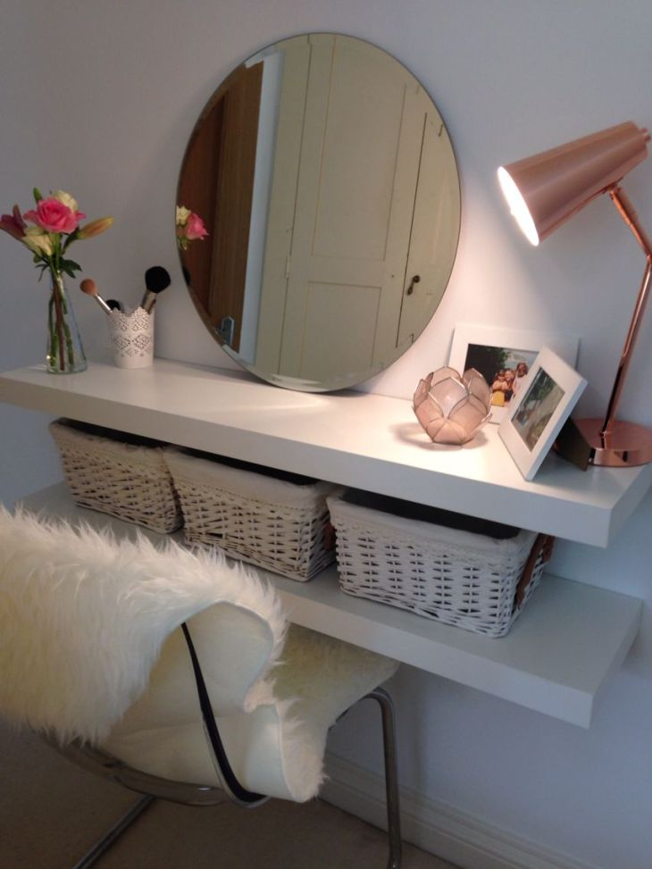 Easy DIY makeup table when space is limited or you are using what