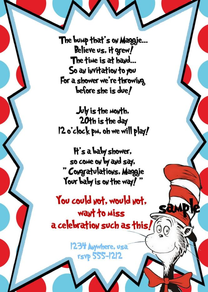 Dr Seuss Baby Shower Invitation Wording | PaperInvite