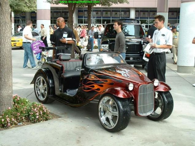 Classic Hot Rod Flames Painting A Golf Cart