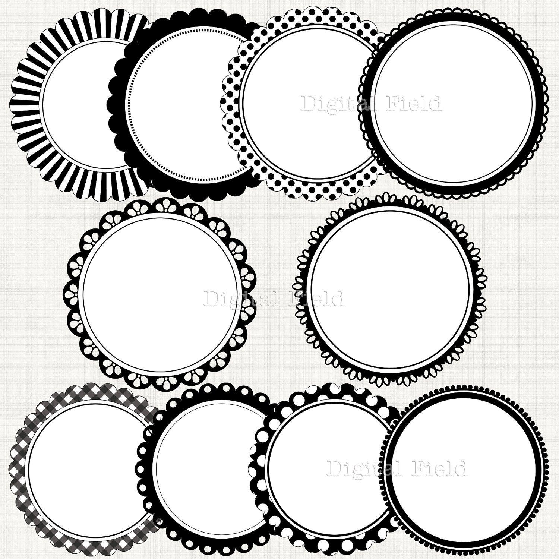 Black Amp White Scalloped Circle Frames Borders Clip Art Set