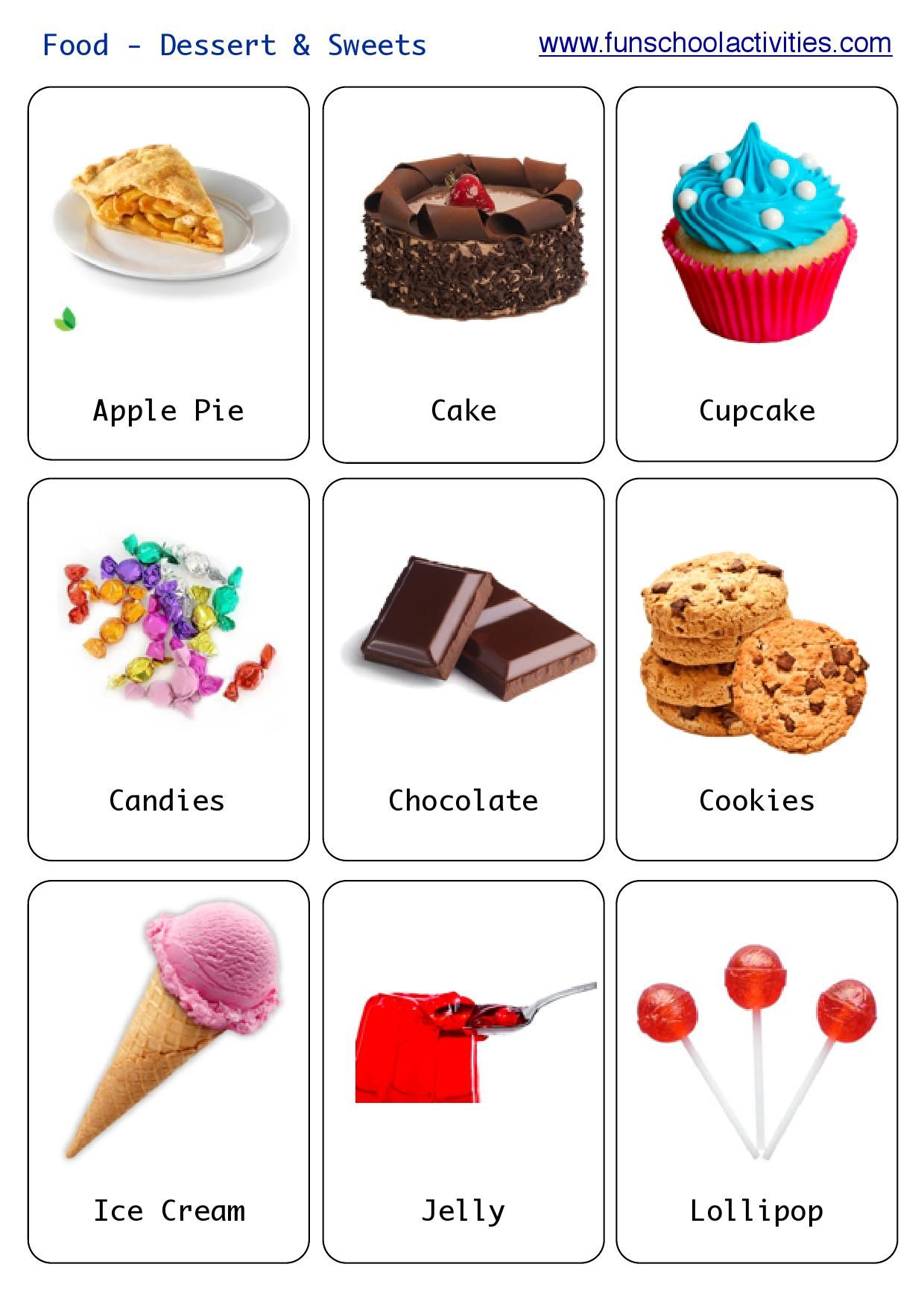 Printable Desserts And Sweets Flashcards
