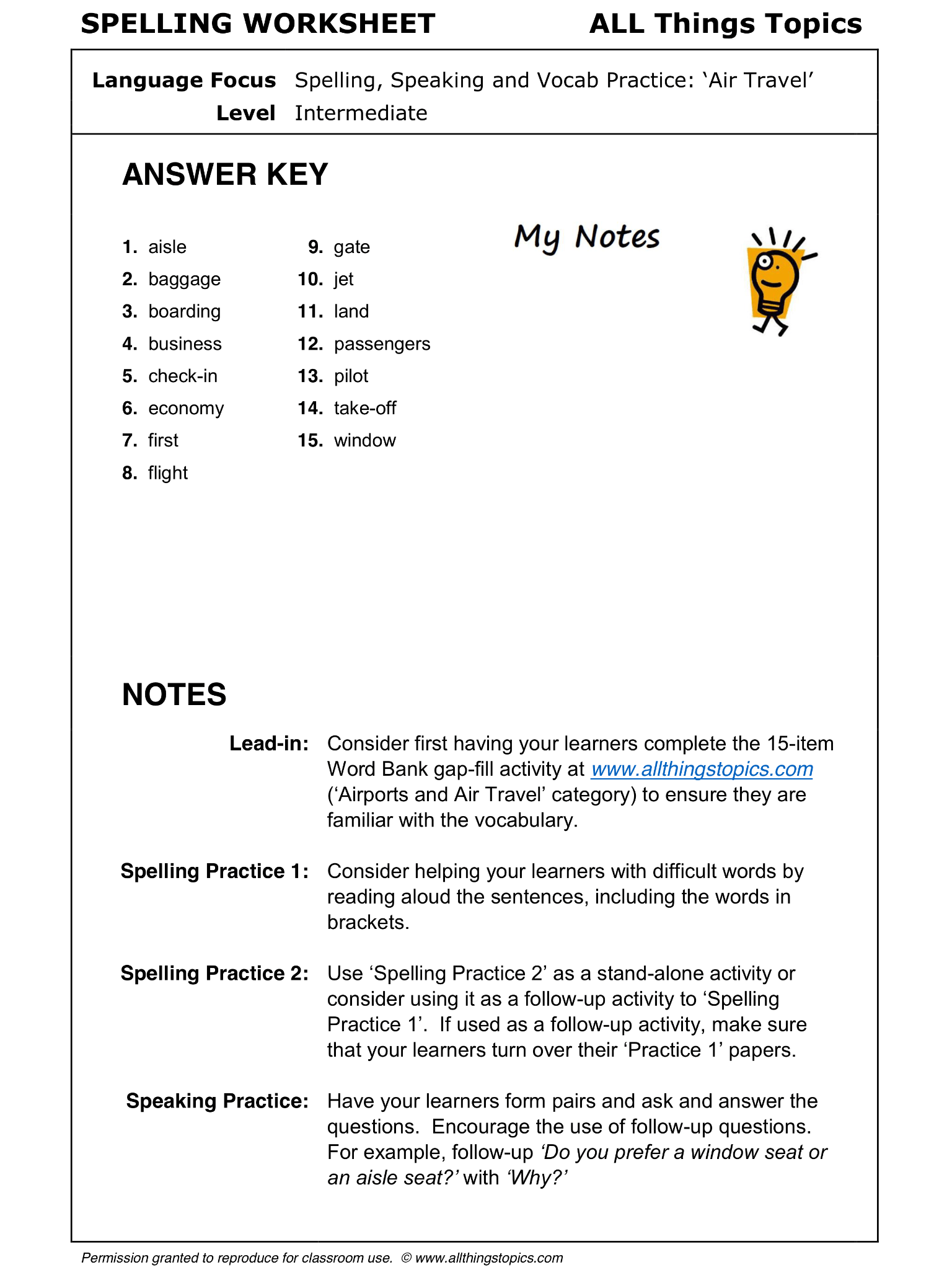 Airports And Air Travel Spelling Worksheet Air Travel 1 2