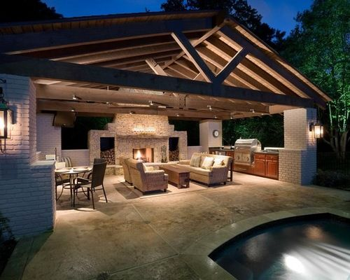outdoor kitchen with pool and patio Pool House with Outdoor Kitchen | Farm house ideas