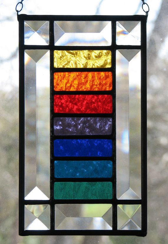 Stained Glass Rainbow Colors Suncatcher Small Rainbow Colors