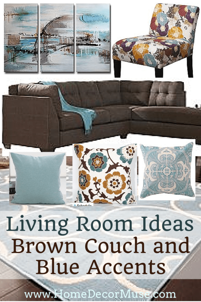 Brown Sectional Sofa Plus Blue Living Room Inspiration ...