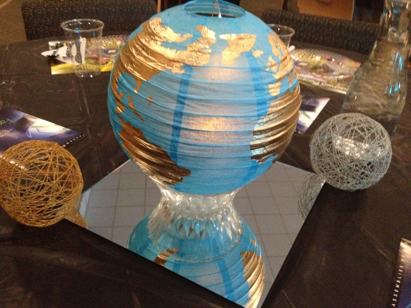 Lantern Centerpieces For Missions Banquet Painted The World Map On Each With Gold Foil