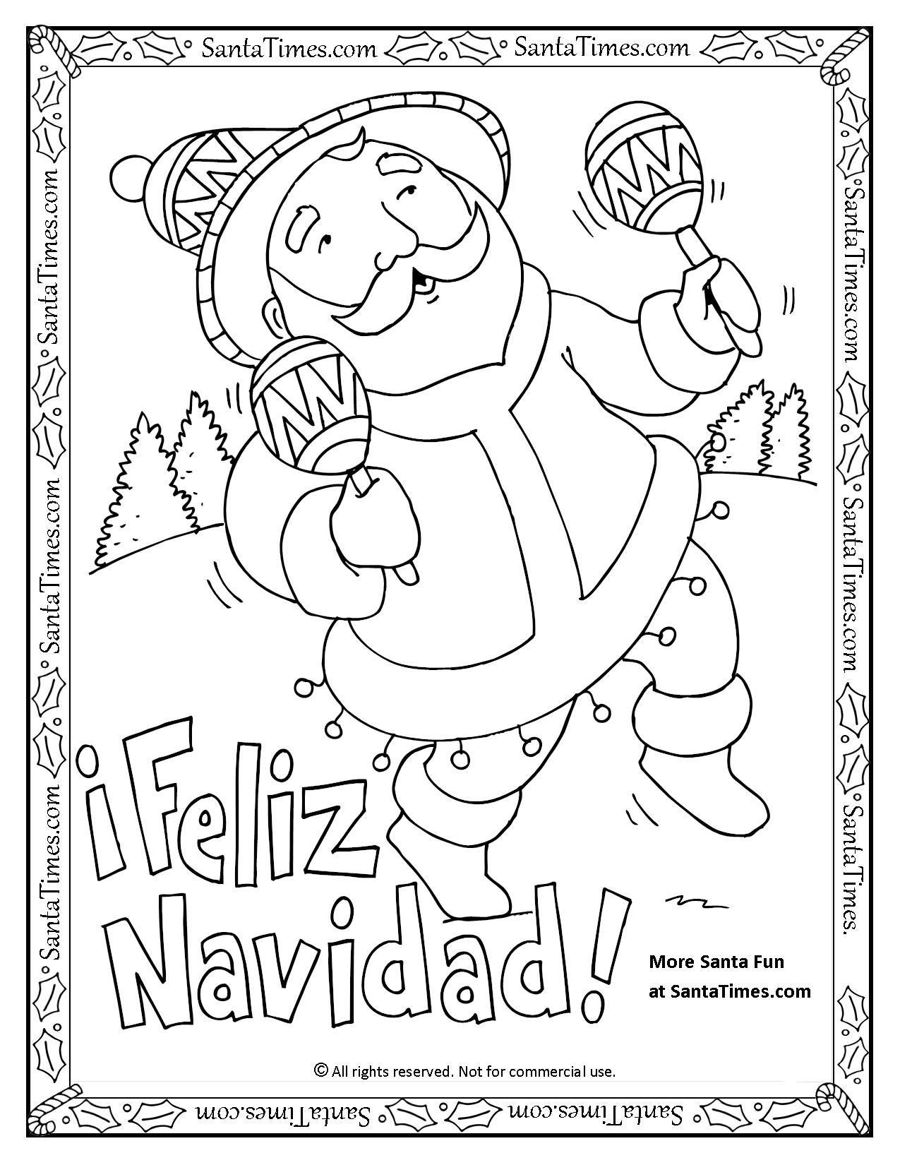 Feliz Navidad Printable Coloring Page Papa Noel Quiere