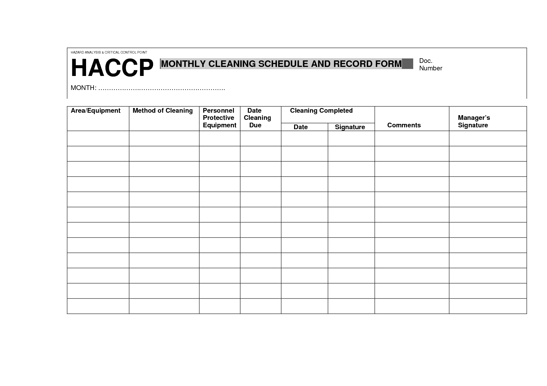 Haccp Cleaning Schedule And Record Form
