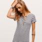Black and white striped tshirt dress neckline short sleeve