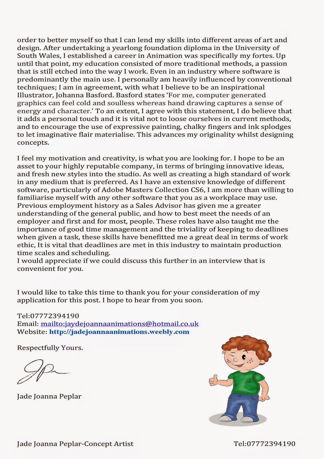 Cover Letter For 3d Animation