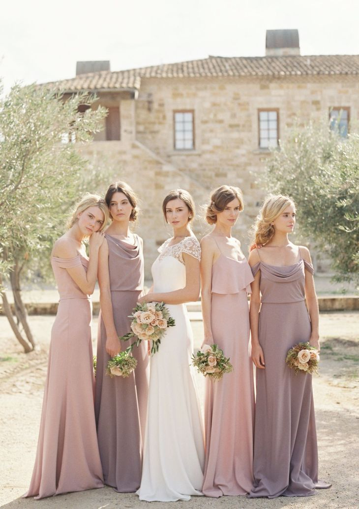 Mix of Crepe De Chine bridesmaid dresses  Hayden wedding dress by
