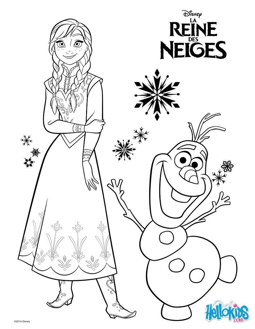 Frozen Anna And Olaf Coloring Page Disney Pinterest Olaf