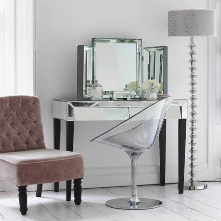 clear acrylic makeup vanity chair with chrome base modern bedroom