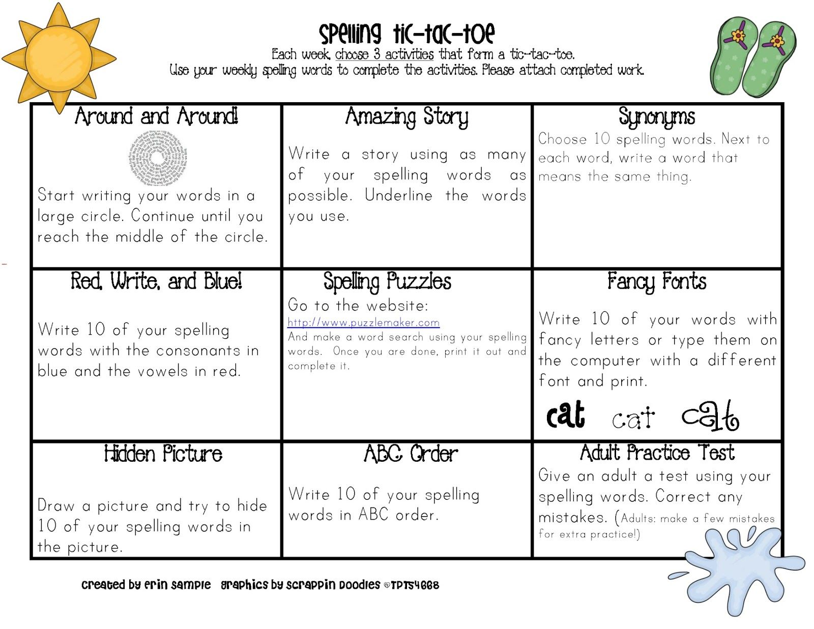 Spelling Tic Tac Toe All Year One For Each Month Promotes Choice Parent Involvement And
