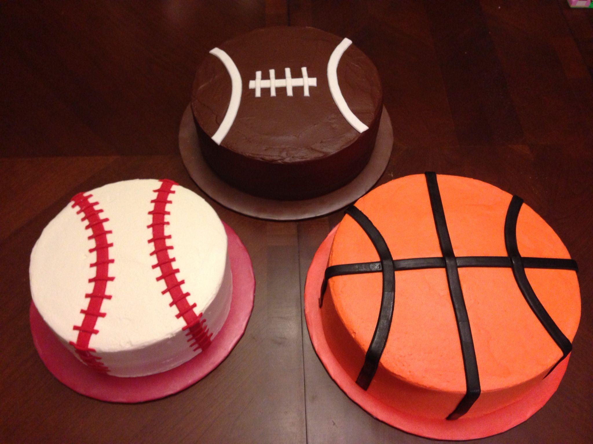 Baseball Football Basketball Cakes