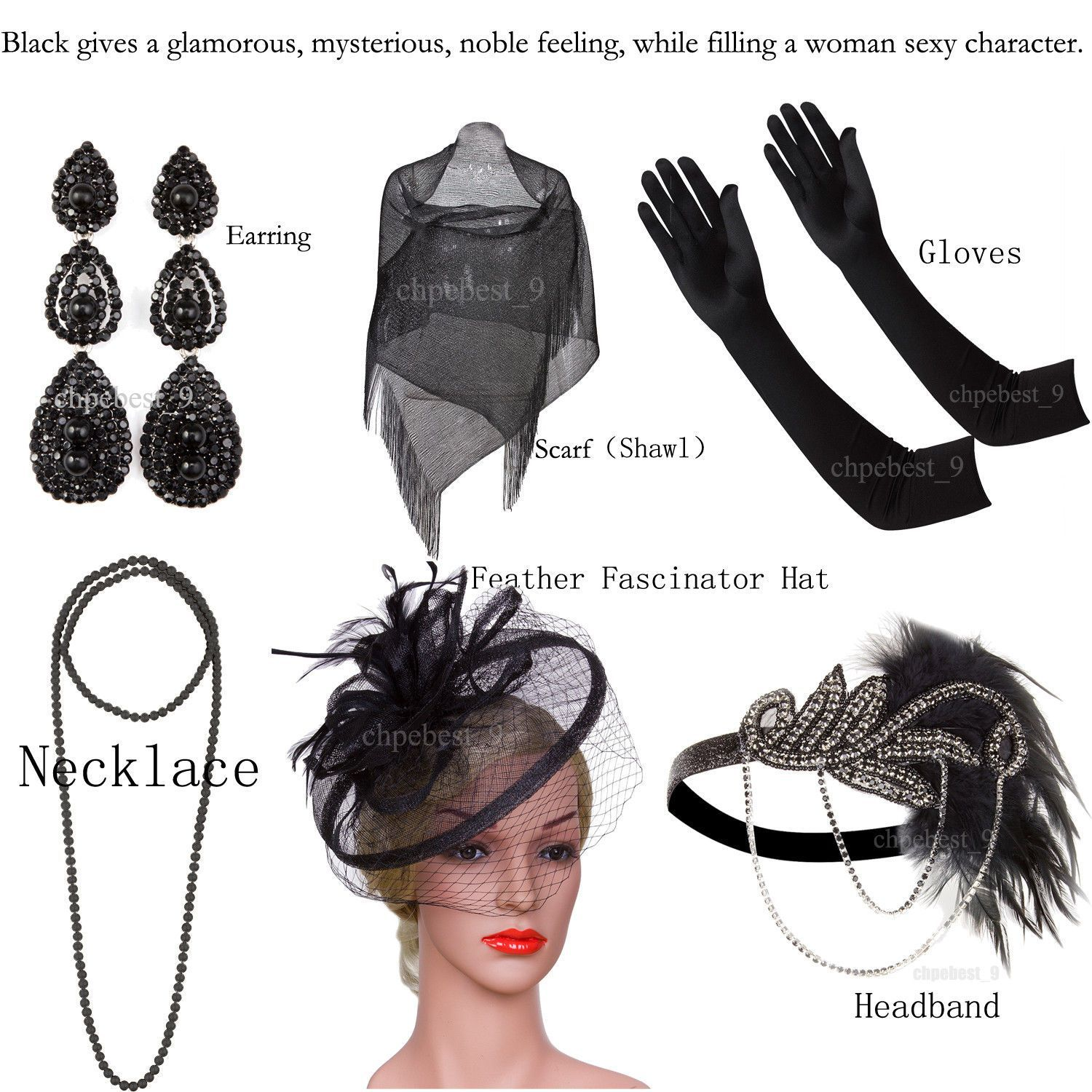 Awesome Awesome 1920s Flapper Dress Great Gatsby Jewelry Black