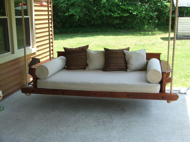 Porch Bed Swing Made With Western Red Cedar Uses A Standard Twin Size Mattress