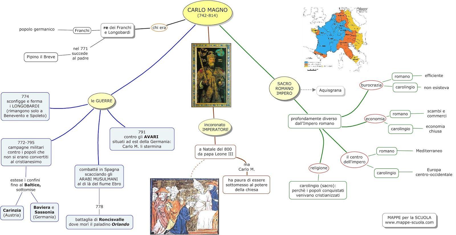 Mappe Per La Scuola Carlo Magno L Impero Carolingio