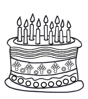 Birthday Cake Colouring Page