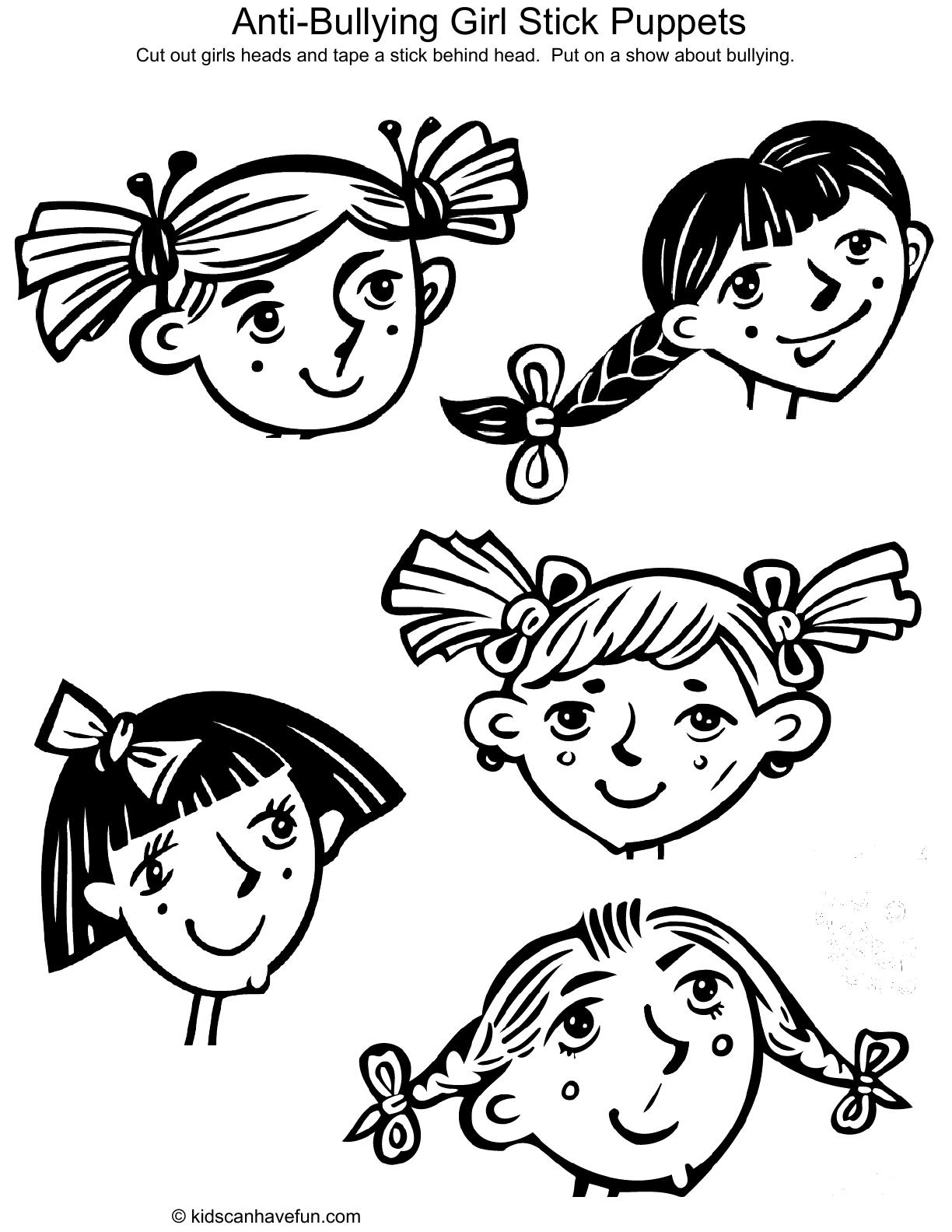 Anti Bullying Girl Stick Puppets