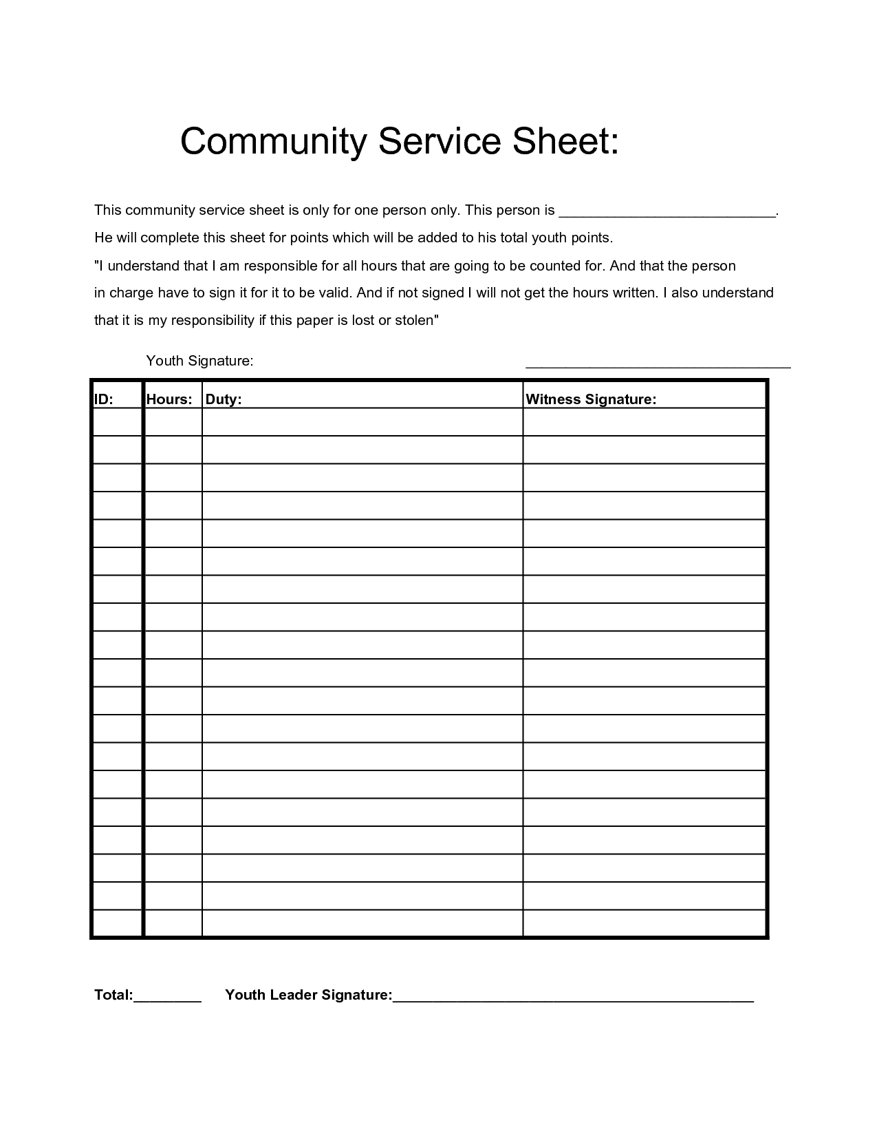 Community Service Hours Sheet