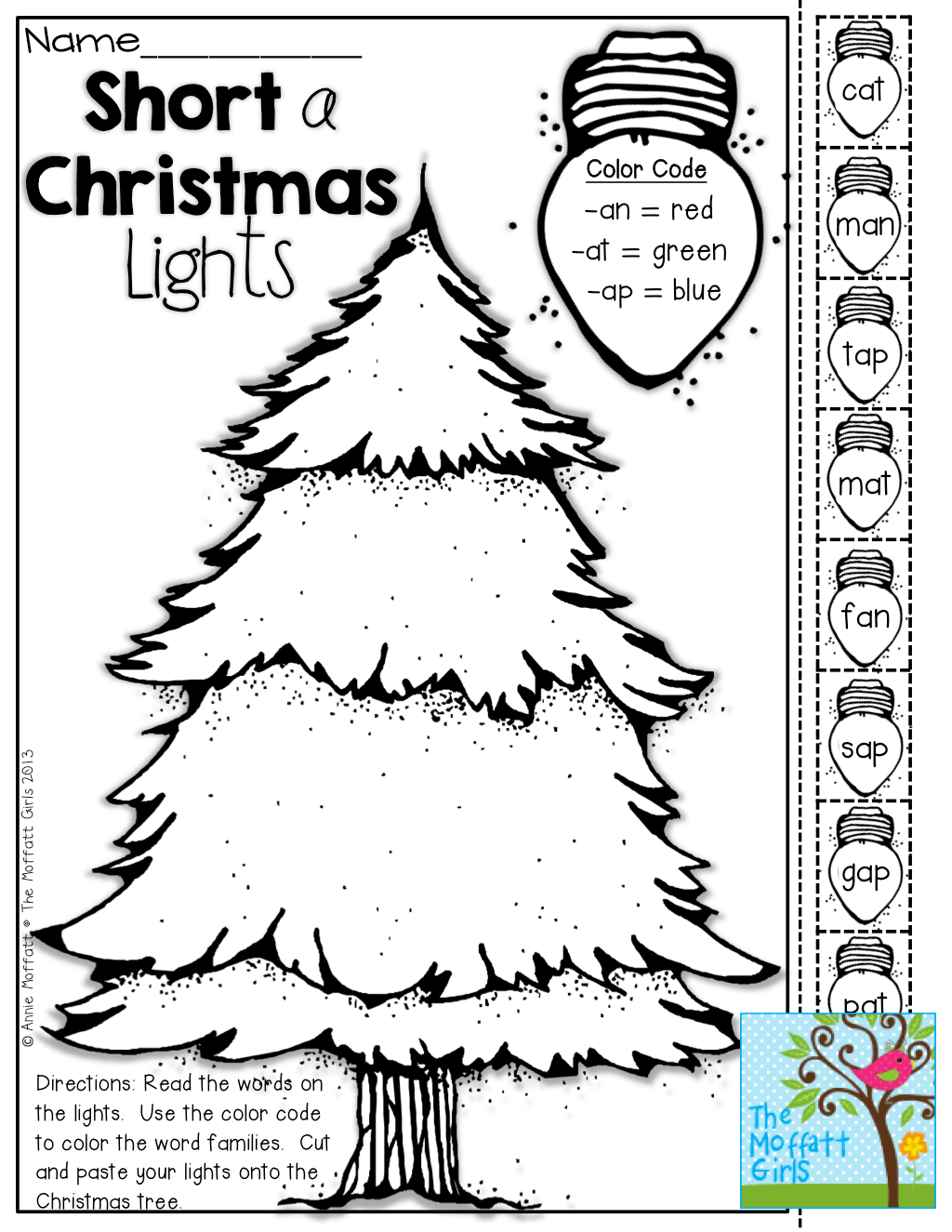 Short Vowel Christmas Lights Color Cut And Paste Tons