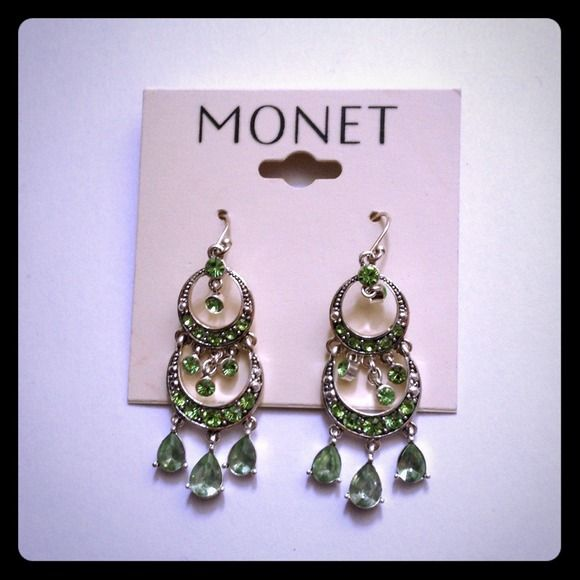 Hpbeautiful Monet Chandelier Earrings Silver With Green Glass Stones Hangs About 2 Inches