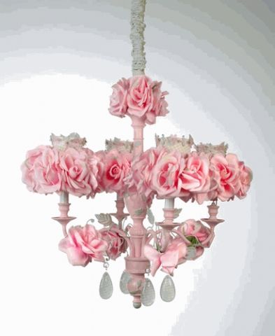 And Of Course The Chandelier Must Be Adorned With Delicate Pink Roses To Soothe