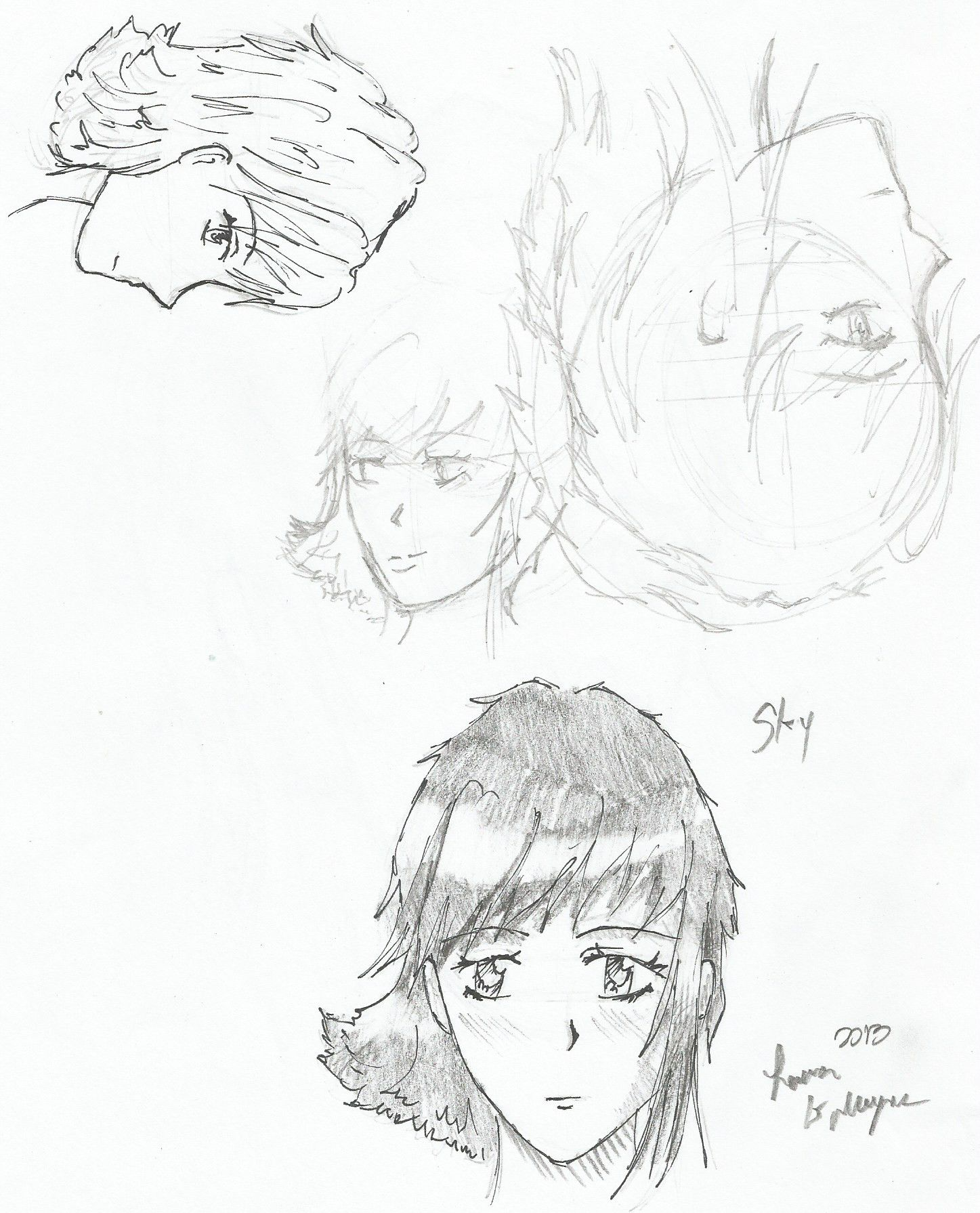 Some sketches of one of my manga characters