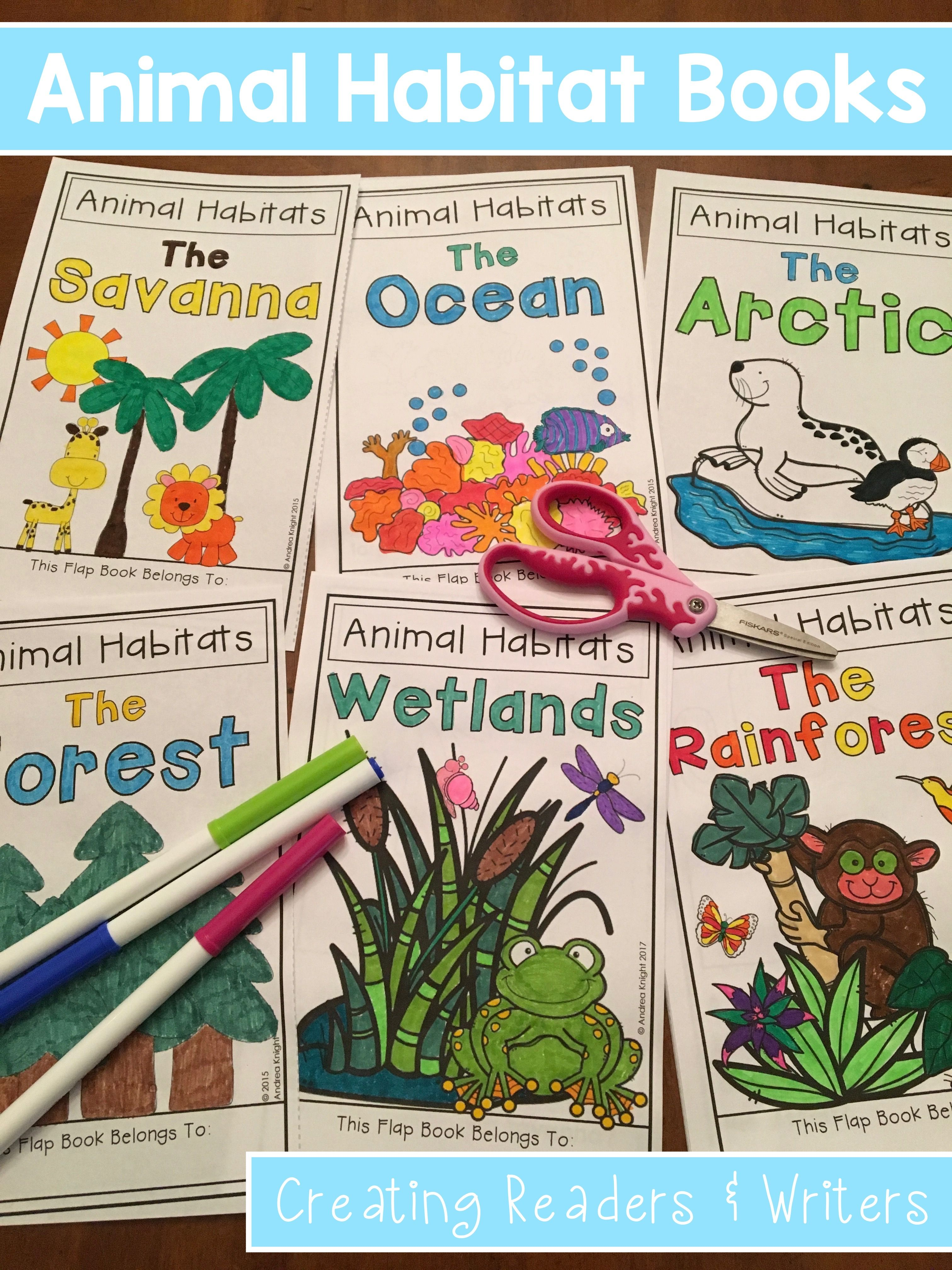 Bundled Set Of Animal Habitat Flap Book Projects Grades 1 3
