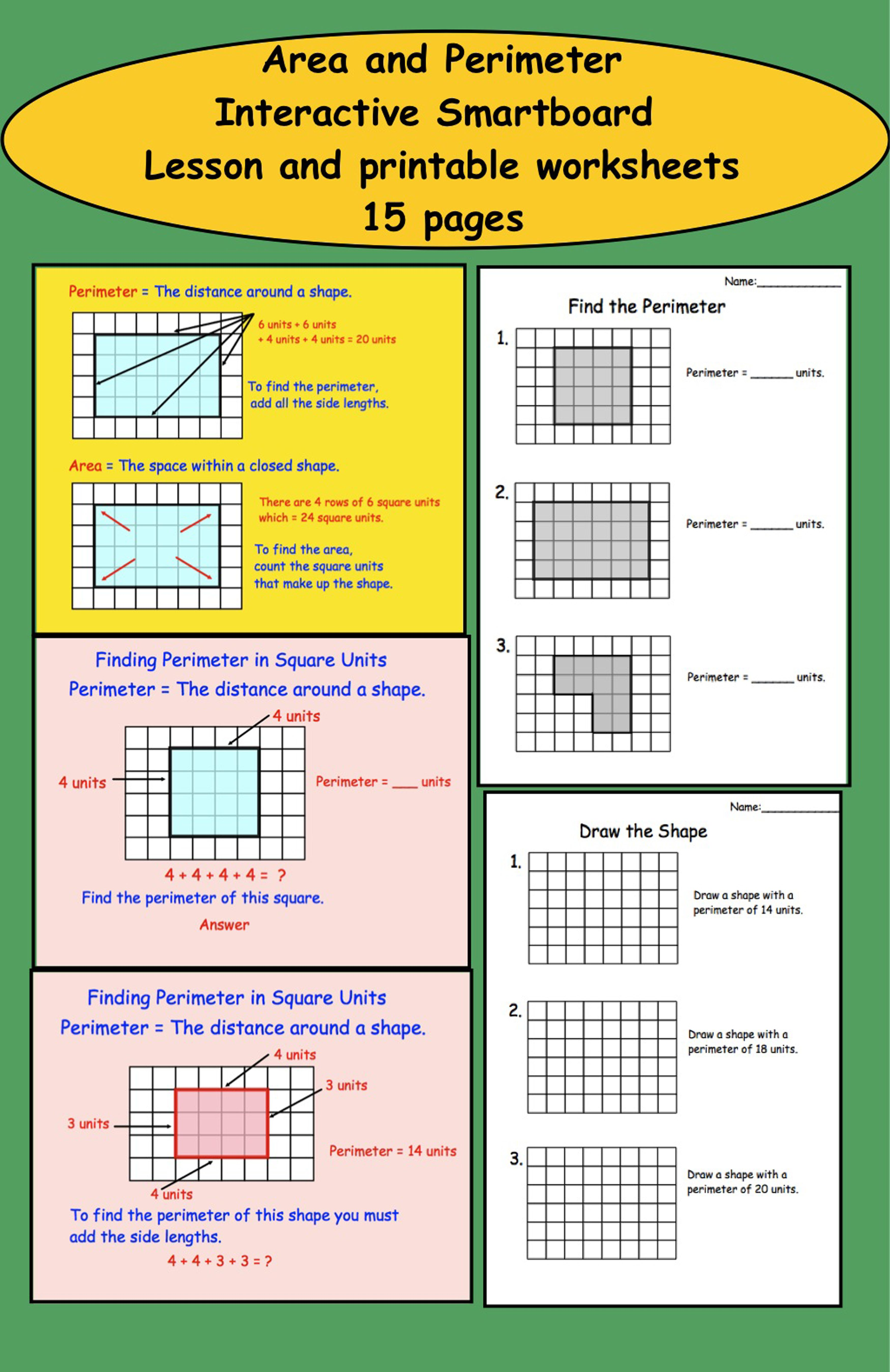 Area And Perimeter Interactive Smartboard Lesson For Gr 3 With Printables