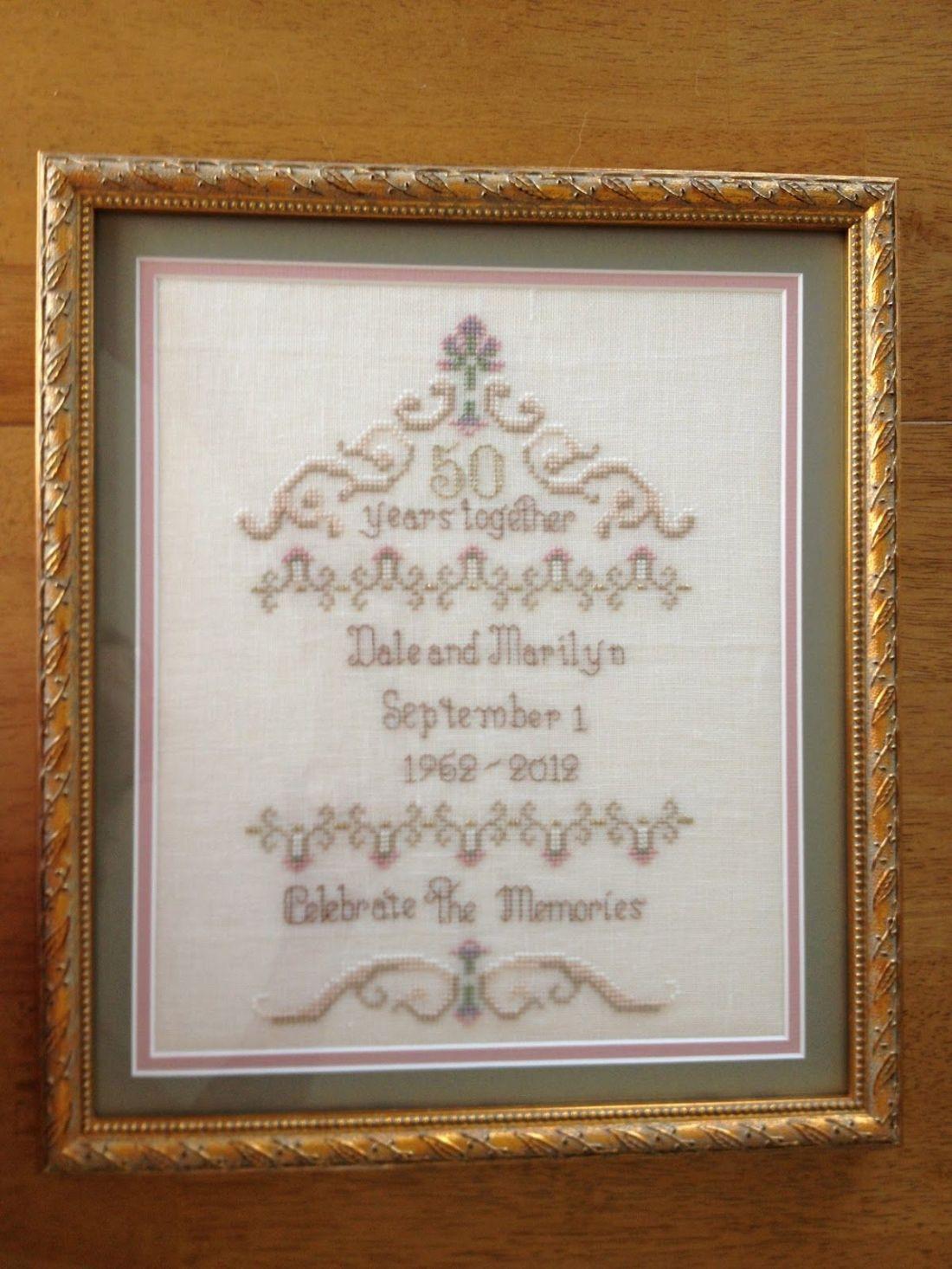 50th wedding anniversary gift crossstitch gifts