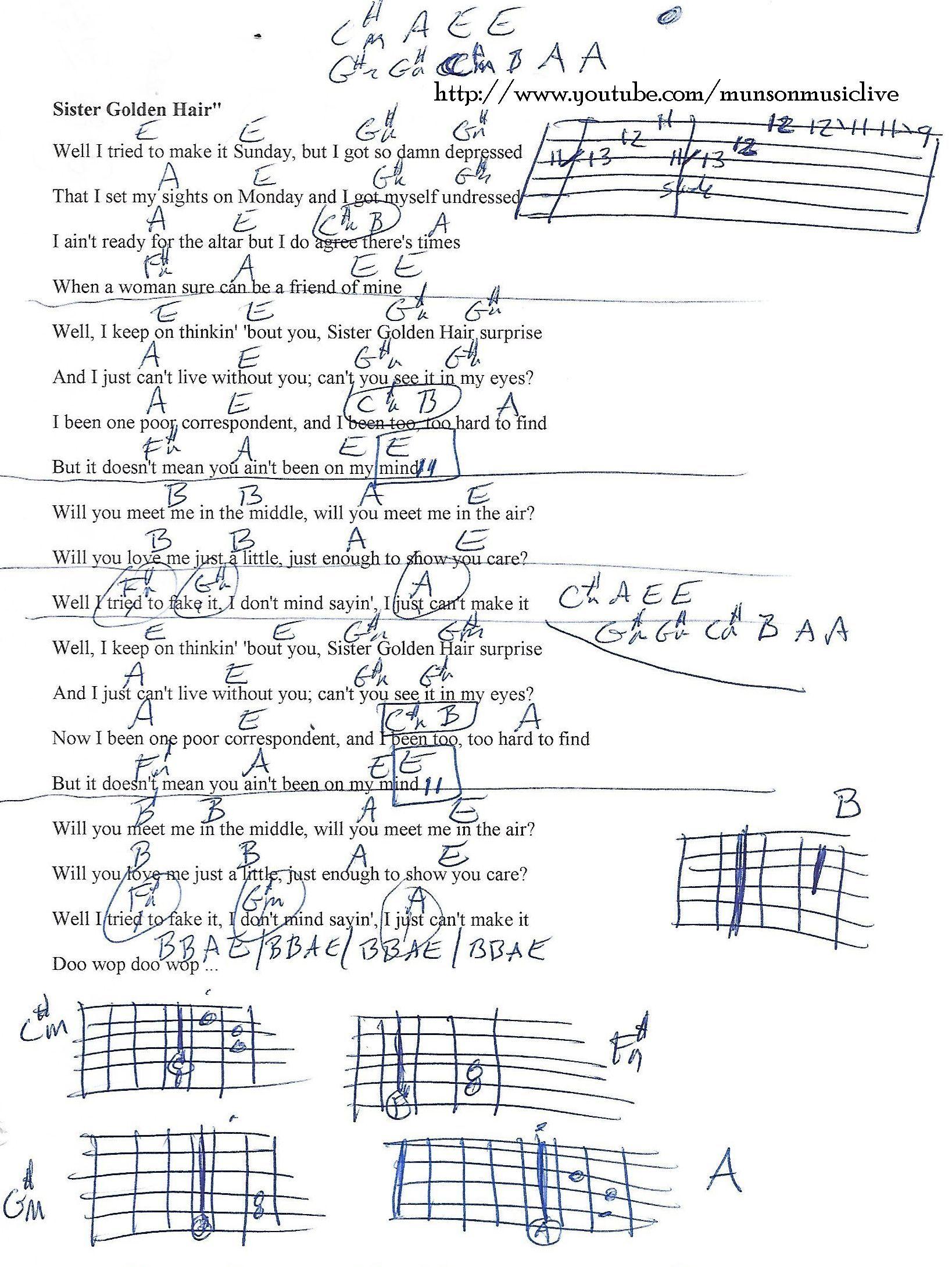 Sister Golden Hair America Guitar Chord Chart