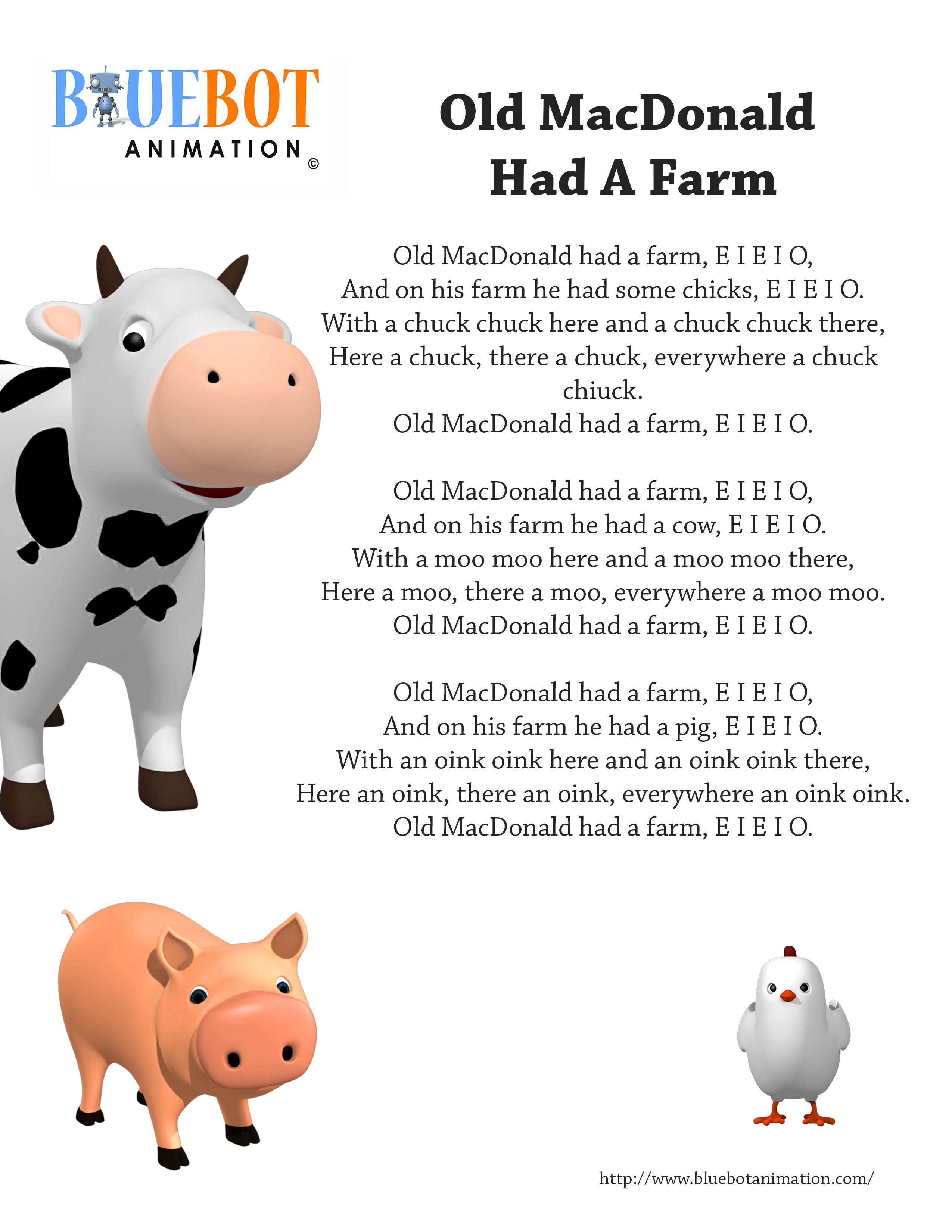 Old Macdonald Had A Farm Nursery Rhyme Lyrics Free