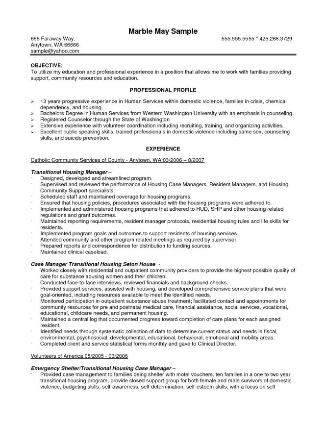 Case Manager Resume Objective - Resume Sample