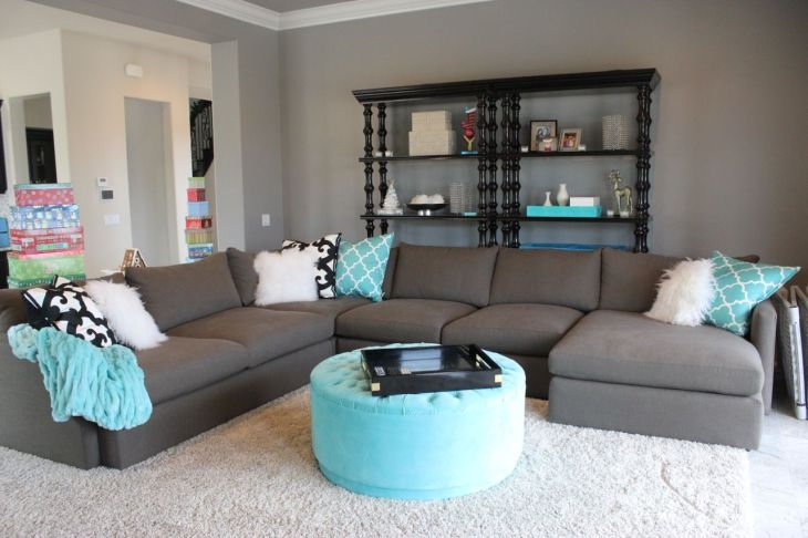 tiffany blue and grey family roomlove that sectional For the