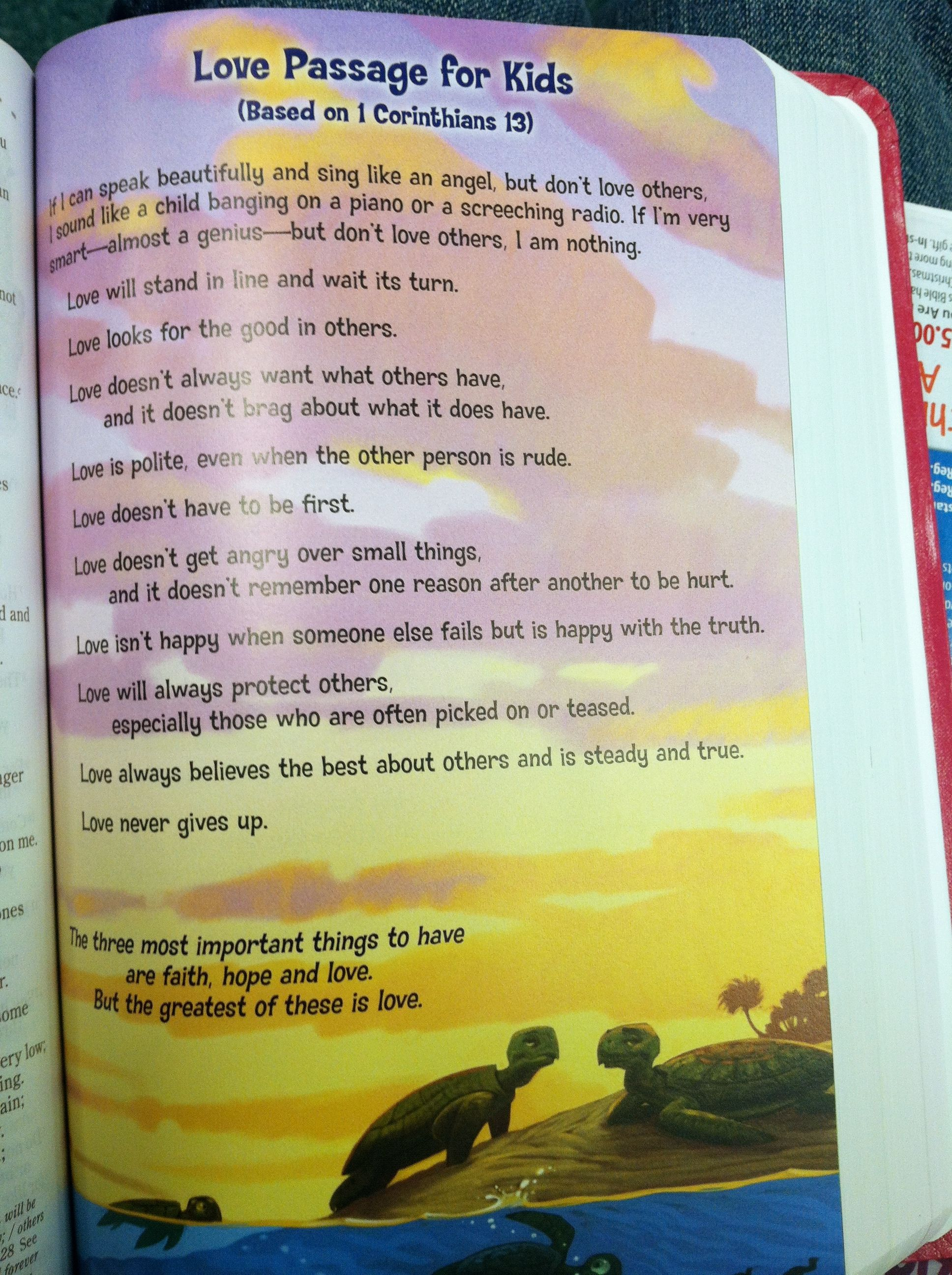 Perfect For Vday Devotional With Family 1 Corinthians 13 For Kids