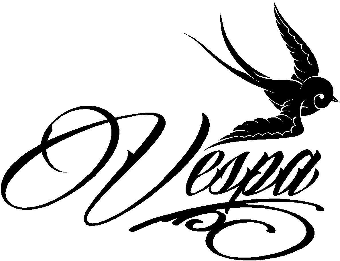Vespa Logo Sticker Tattoo Style Swallow Sticker