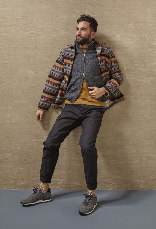 Bakers Chore Jacket blanket stripe Hope Gilet grey wool fleece