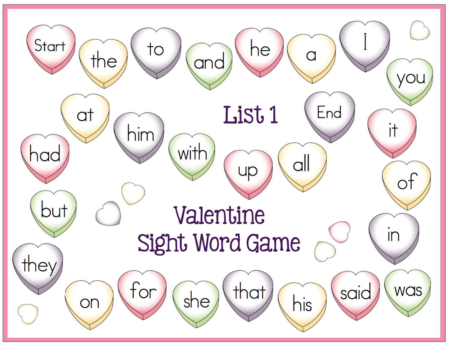 Free Valentine Sight Word Game Boards Fun February Center