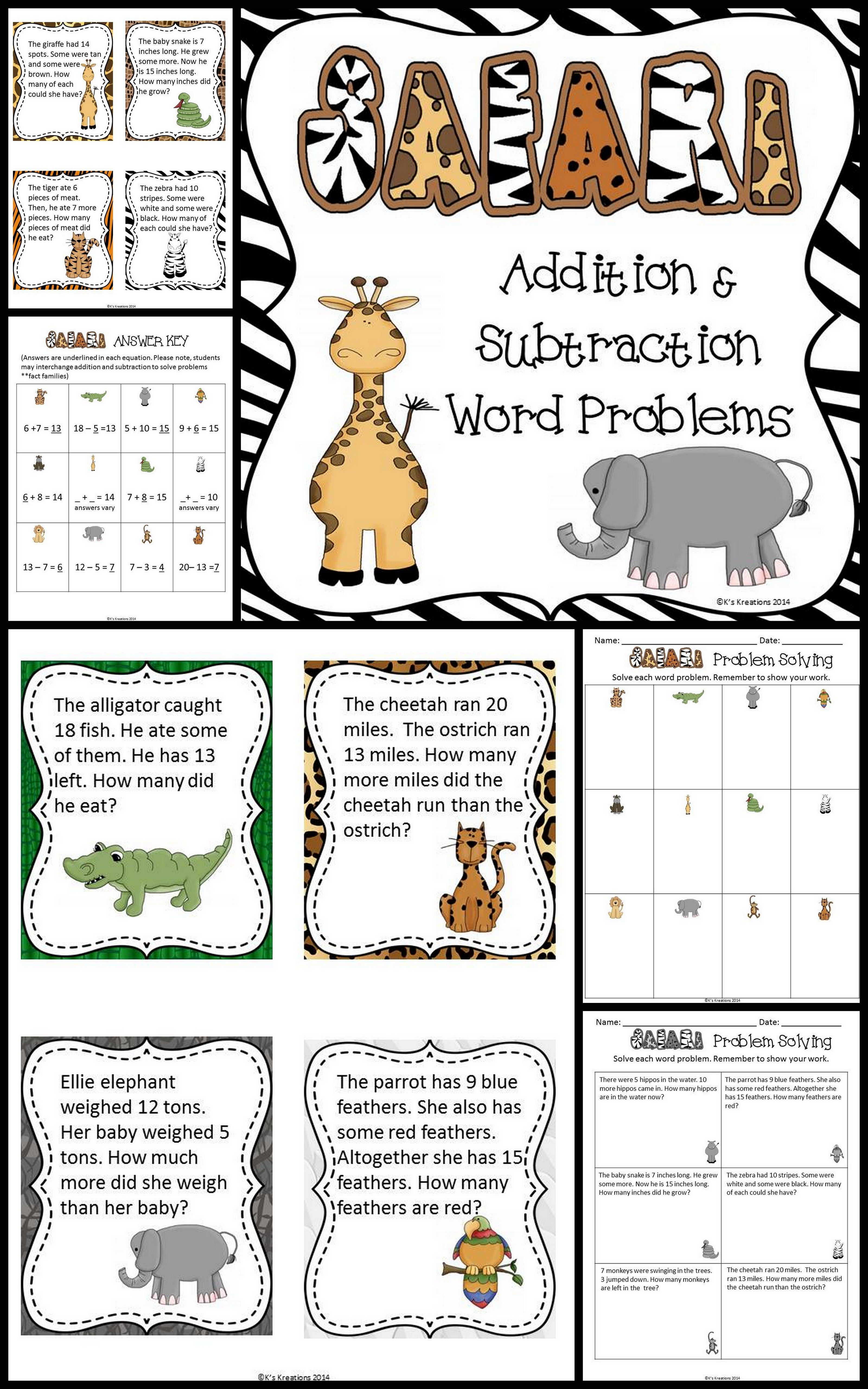 1st Grade Safari Math Word Problems