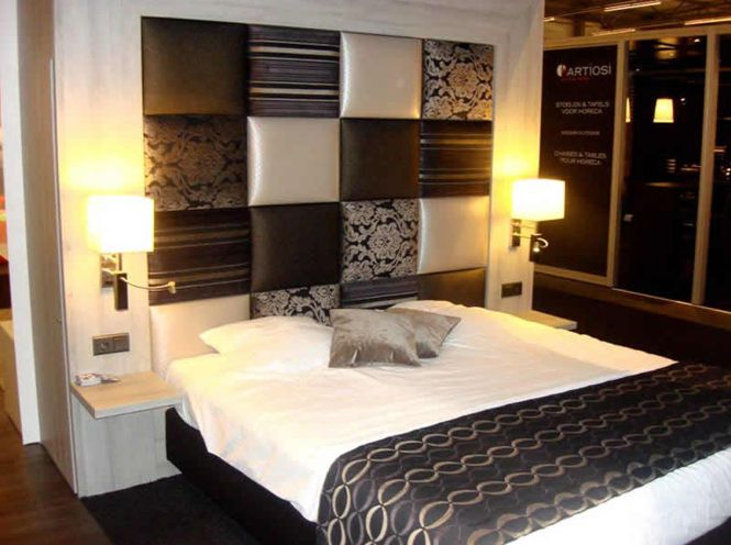 Bedroom Design Hotel Bedrooms Ideas In Modern Style With Texture Motif On Headboard Also Wooden Bed