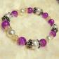 Purple u gold glass beaded bracelet w faux pearls nwt purple gold