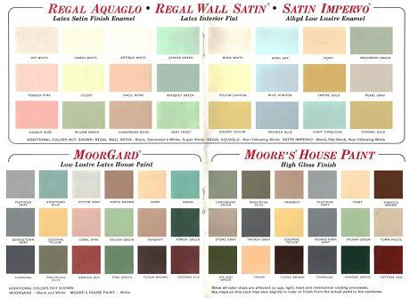 60 colors from benjamin moore s 1969 paint palette on benjamin moore exterior color chart id=21542